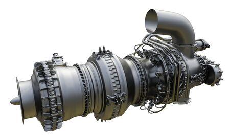 Photo pour Gas turbine aircraft engine of power plant. 3d rendering. - image libre de droit
