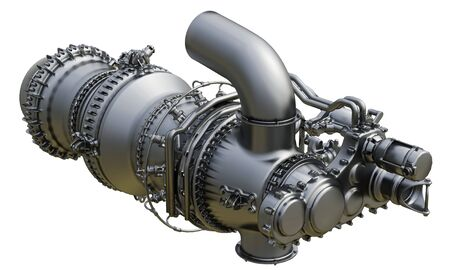Photo pour Gas turbine engine centrifugal type of sales gases compressor in pressurized enclosure. 3d rendering. - image libre de droit