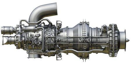 Photo pour Gas turbine engine is the prime mover of gas compressor centrifugal type. 3d rendering. - image libre de droit