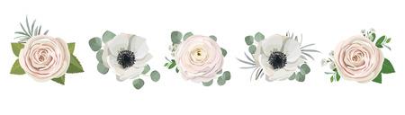 Illustration pour anemone ranunculus eucalyptus rose peony flowers and eucalyptus branches bouquet vector illustration, hand drawn floral elements set for greeting cards, wedding invitations. - image libre de droit