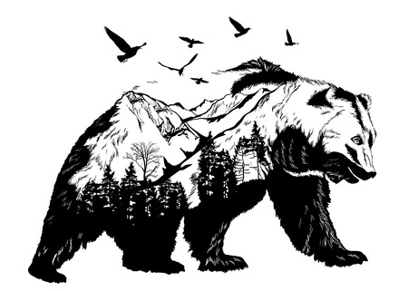Illustration pour Hand drawn bear for your design, wildlife concept - image libre de droit
