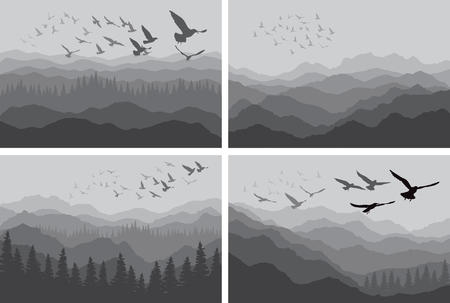 Set of landscape banners with silhouettes of birds over mountains and forest