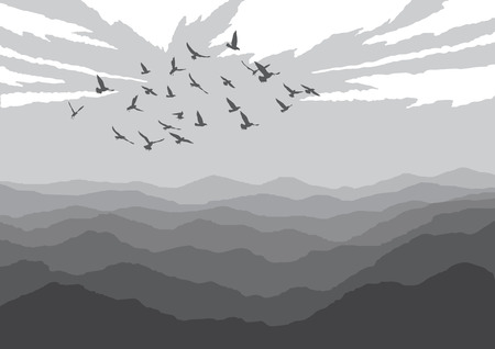 Landscape with silhouettes of birds over mountains