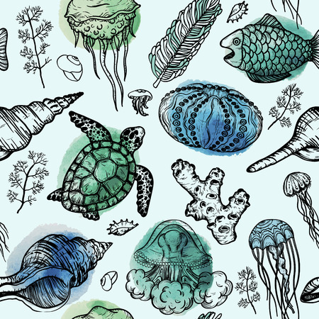 Illustration pour Seamless watercolor pattern with sketch of sea shells, turtle, corals and jellyfish. Hand Drawn background - image libre de droit