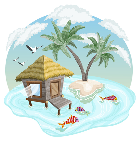 Illustration pour Tropical island in the ocean with palm trees and bungalow, vector illustration - image libre de droit