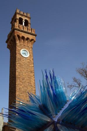 Blue murano glass sculpture in island Murano in Venice