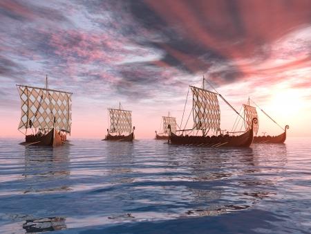Viking Ships at Sunset