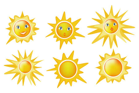 Illustration for Cartoon sun icon set isolated on white background. - Royalty Free Image