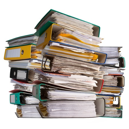 three piles of file binder with documents