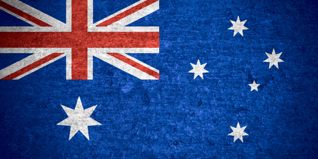 flag of  Australia or  Australian banner on old metal texture background