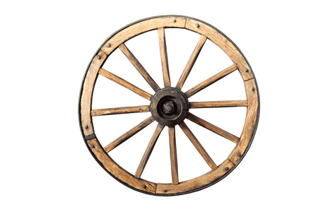 Photo pour old wooden wheel isolated on white background - image libre de droit