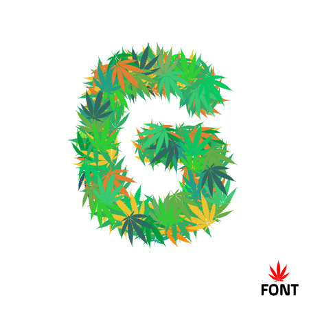 Cannabis letter G from marijuana leaves isolated on white background vector illustration