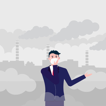 Illustration pour Confused man wearing mask against smog. Fine dust, air pollution, industrial smog protection concept flat style design vector illustration. Industrial plant - image libre de droit