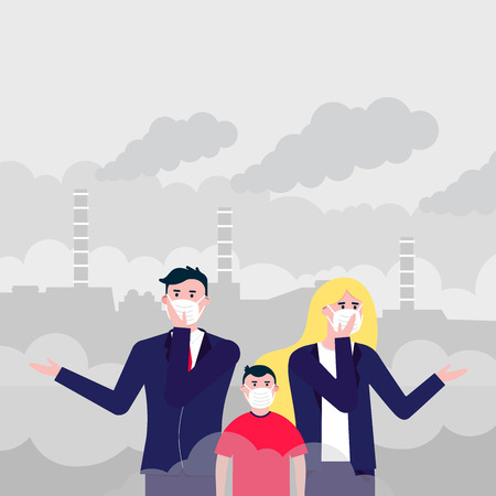 Illustration pour Confused man, woman, kid masks against smog. Fine dust, air pollution, industrial smog protection concept flat style design vector illustration. Clouds of smoke behind industrial plant - image libre de droit