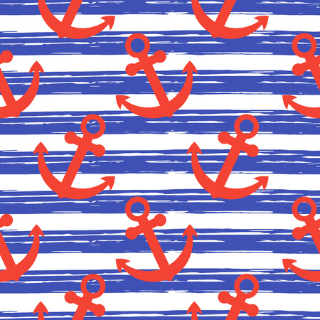 Illustration pour Hand drawn stripes vector illustration. Nautical maritime sea ocean repeat background backdrop isolated on white background. - image libre de droit