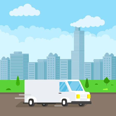 Illustration pour Fast delivery truck service on the road. Blue sky background. Symbol of delivery company. - image libre de droit