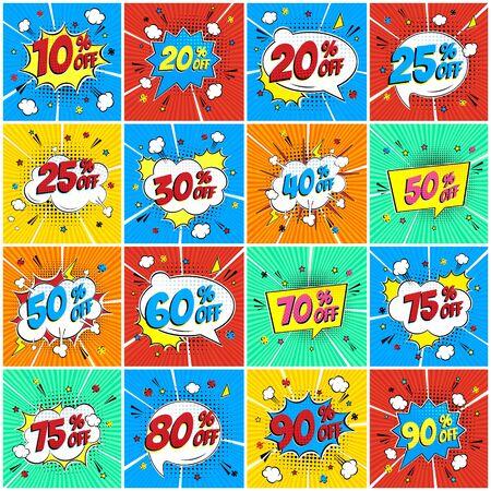 Ilustración de Comic lettering percents off SALE in the speech bubble comic style flat design set. Retro vintage pop art illustration isolated on rays background. Exclamation sticker or label store or shop. - Imagen libre de derechos