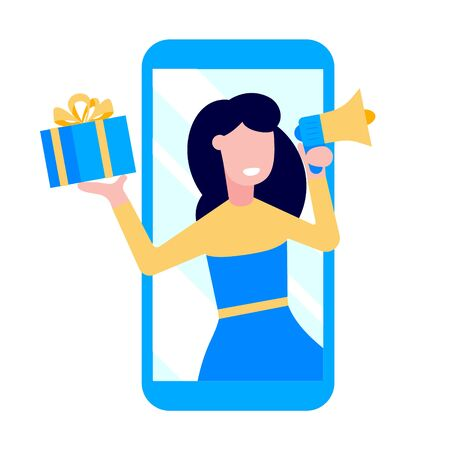 Illustration pour Refer a friend flat style design vector illustration isolated on white background. Woman with megaphone and gift box standin up in the smartphone and shout out. Social media ad concept symbols. - image libre de droit