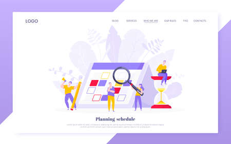 Illustration pour Calendar planning schedule business concept vector illustration. Tiny people with magnifier glass, big hourglass do working plan on day calendar and checks dates. Time management deadline web template - image libre de droit