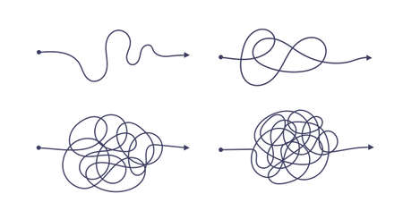 Illustration pour Complex and easy simple way from start to end vector illustration set. Chaos simplifying, problem solving and business solution searching challenge concept. Hand drawn doodle scribble chaos path lines - image libre de droit