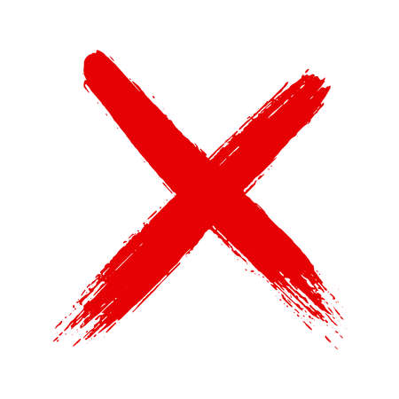 Illustration for Grunge hand drawn cross x with brush strokes vector illustration isolated on white background. Mark graphic design. Check mark symbol NO button for vote in check box, web, etc. - Royalty Free Image