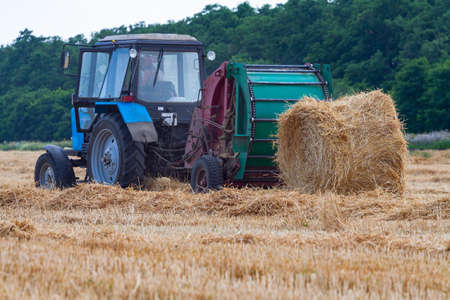 Foto für A tractor with a trailed bale making machine collects straw rolls in the field and makes round large bales - Lizenzfreies Bild