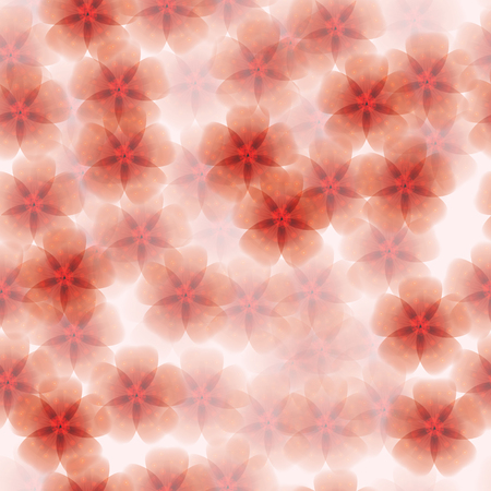 Floral  seamless background with translucent red flowers