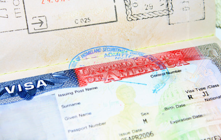 empty J1 USA visa for man
