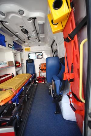 Foto de Ambulance car from inside and back space. - Imagen libre de derechos