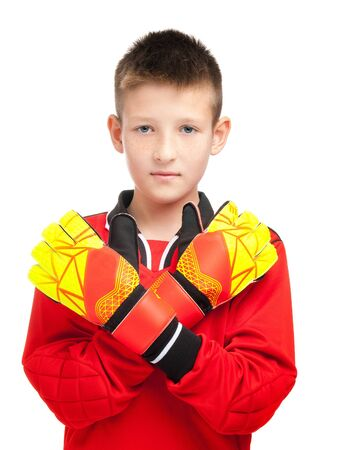 Photo pour young soccer players in goalkeeper gloves on a white background - image libre de droit