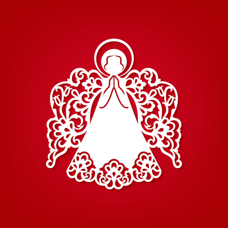 Illustration for Laser cut paper Christmas angel decoration vector design. Greeting Card for wood carving, paper cutting and Easter decorations. Beautiful applique on red background. Abstract Isolated vector objects. - Royalty Free Image