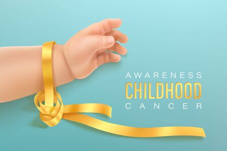 Illustration pour Childhood cancer awareness gold ribbon on baby hand on a light cyan background. Gold ribbon symbolic concept raising campaign support help childhood cancer awareness - image libre de droit