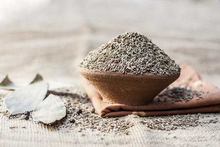 Cumin/Cuminum cyminum  in a clay bowl.
