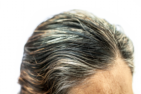 Photo pour Backside shot of a old women showing her white hairs isolated on white. - image libre de droit