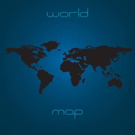 Map of the world - black silhouette over blue background illustration