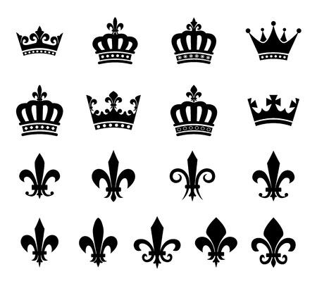 Set of crown and fleur de lis design elements - silhouettes
