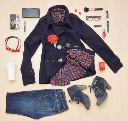 fashion stylish set of clothing and accessories for the fall, fashion concept