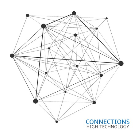 Abstract Chaotic connections network, high technology, internet, nanotechnology concept