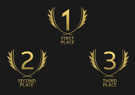 First, second and third place icons. Golden award symbol set