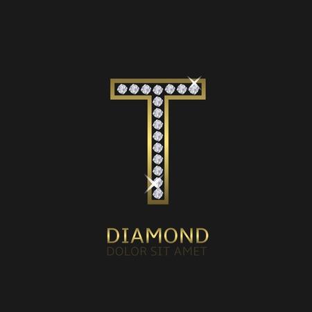Golden metal letter T logo with diamonds. Luxury, royal, wealth, glamour symbol. Vector illustration
