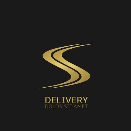 Illustration pour Delivery company logo. Golden road symbol, Vector illustration - image libre de droit