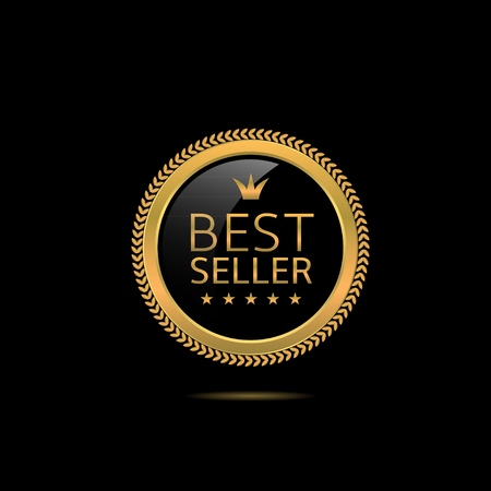 Ilustración de Best seller label. Golden award badge, Vector illustration - Imagen libre de derechos