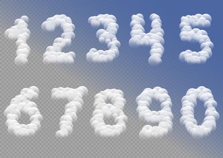 Illustration pour White cloudy numbers - image libre de droit