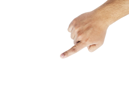 Male finger point isolated on white background.