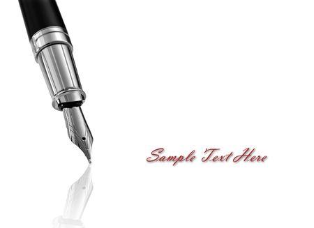 Fountain writing pen on white background