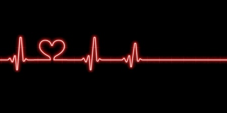 Heartbeat with heart symbol isolated on black background
