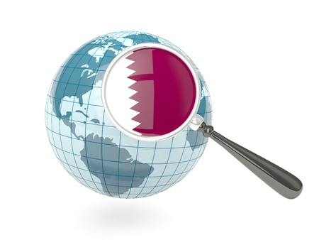 Magnified flag of qatar with blue globe isolated on white