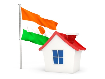 House with flag of niger isolated on white