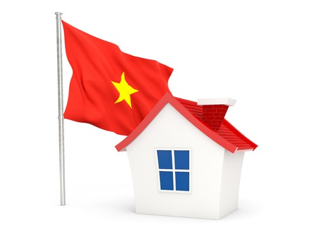 House with flag of vietnam isolated on white