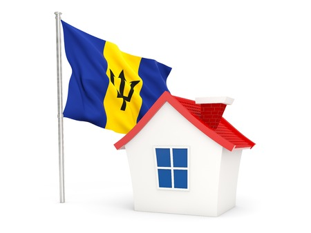 House with flag of barbados isolated on white
